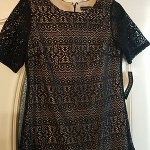 NWT nude dress with black lace overlay